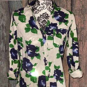 The Limited Floral Button Up Front Pocket Blouse M